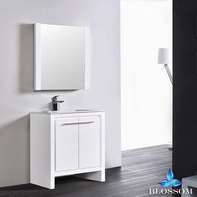 Artemis Modern 29 Single Bathroom Vanity Set with Mirror Base Finish: Glossy White