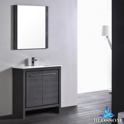Artemis Modern 29 Single Bathroom Vanity Set with Mirror Base Finish: Silver Gray