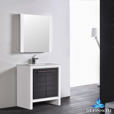 Artemis Modern 29 Single Bathroom Vanity Set with Mirror Base Finish: Glossy White/Silver Gray