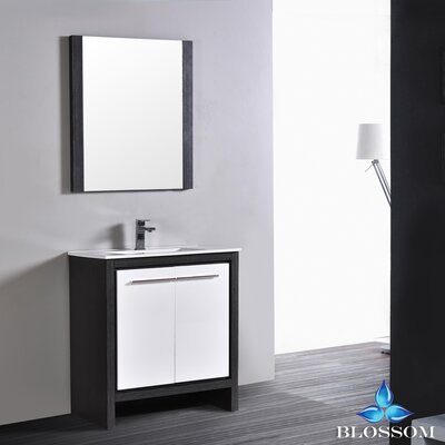 Artemis Modern 29 Single Bathroom Vanity Set with Mirror Base Finish: Silver Gray/Glossy White