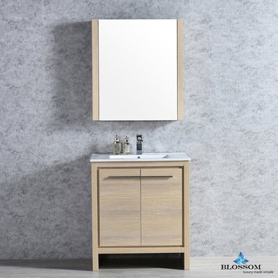 Artemis Modern 29 Single Bathroom Vanity Set with Mirror Base Finish: Briccole Oak