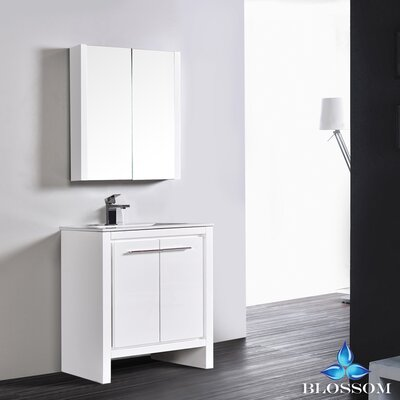 Artemis 29 Single Bathroom Vanity Set with Mirror Base Finish: Glossy White