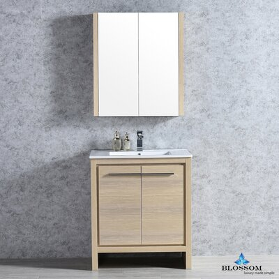 Artemis 29 Single Bathroom Vanity Set with Mirror Base Finish: Briccole Oak