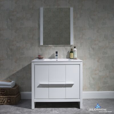 Artemis Modern 35 Single Bathroom Vanity Set with Mirror Base Finish: Glossy White