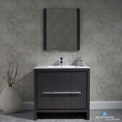 Artemis Modern 35 Single Bathroom Vanity Set with Mirror Base Finish: Silver Gray