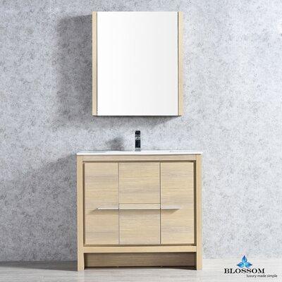 Artemis Modern 35 Single Bathroom Vanity Set with Mirror Base Finish: Briccole Oak