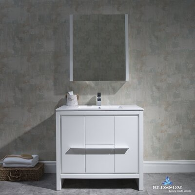 Artemis 35 Single Bathroom Vanity Set with Mirror Base Finish: Glossy White