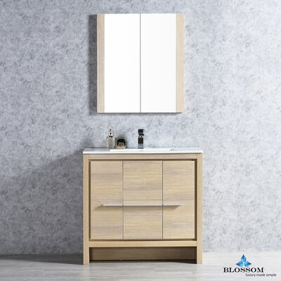 Artemis 35 Single Bathroom Vanity Set with Mirror Base Finish: Briccole Oak