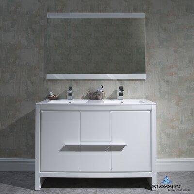 Artemis Modern 47 Double Bathroom Vanity Set with Mirror Base Finish: Glossy White