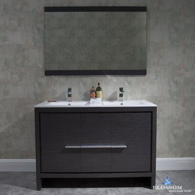 Artemis Modern 47 Double Bathroom Vanity Set with Mirror Base Finish: Silver Gray