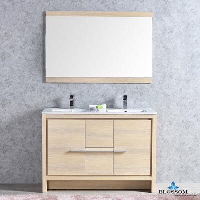 Artemis Modern 47 Double Bathroom Vanity Set with Mirror Base Finish: Briccole Oak