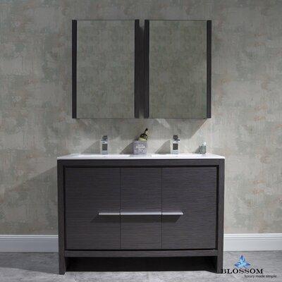 Artemis 47 Double Bathroom Vanity Set with Mirror Base Finish: Silver Gray