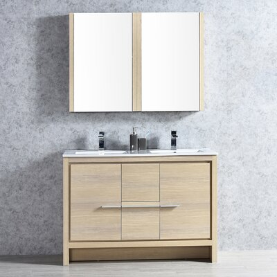 Artemis 47 Double Bathroom Vanity Set with Mirror Base Finish: Briccole Oak