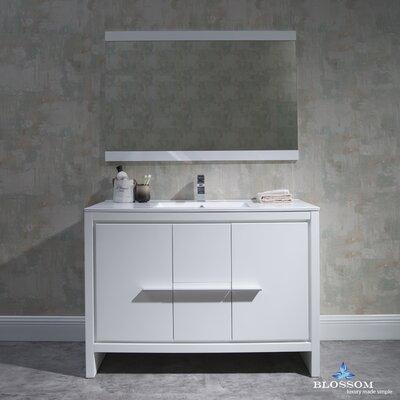 Artemis 47 Single Bathroom Vanity Set with Mirror Base Finish: Glossy White