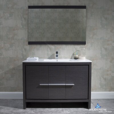 Artemis 47 Single Bathroom Vanity Set with Mirror Base Finish: Silver Gray
