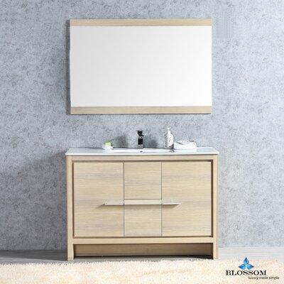 Artemis 47 Single Bathroom Vanity Set with Mirror Base Finish: Briccole Oak
