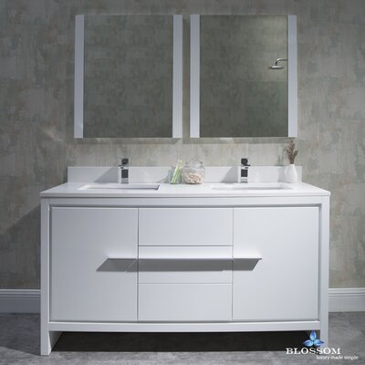 Artemis Modern 60 Double Bathroom Vanity Set with Mirror Base Finish: Glossy White