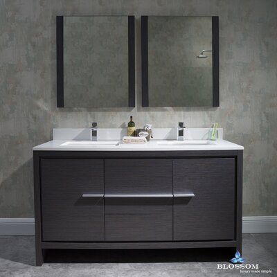 Artemis Modern 60 Double Bathroom Vanity Set with Mirror Base Finish: Silver Gray
