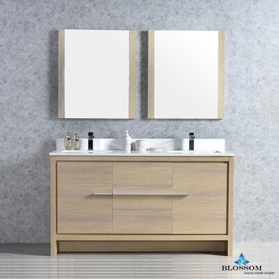 Artemis Modern 60 Double Bathroom Vanity Set with Mirror Base Finish: Briccole Oak