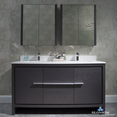 Artemis 60 Double Bathroom Vanity Set with Mirror Base Finish: Silver Gray