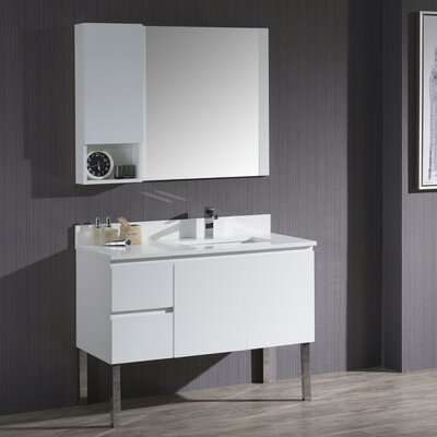 Maly 42 Single Bathroom Vanity Set with Wood Framed Mirror Base Finish: Matte White