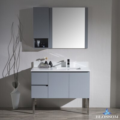 Maly 42 Single Bathroom Vanity Set with Wood Framed Mirror Base Finish: Metal Gray