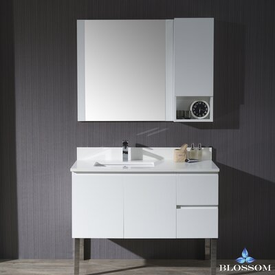 Maly Modern 42 Single Bathroom Vanity Set with Rectangular Wood Framed Mirror Base Finish: Matte White