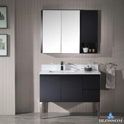 Maly Modern 42 Single Bathroom Vanity Set with Rectangular Wood Framed Mirror Base Finish: Espresso