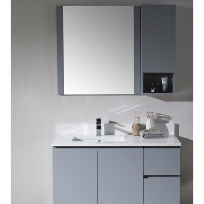 Maly Modern 42 Single Bathroom Vanity Set with Mirror Base Finish: Metal Gray