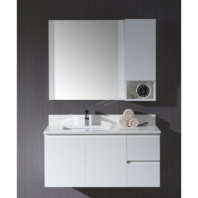 Maly Modern 42 Single Bathroom Vanity Set with Mirror Base Finish: Matte White