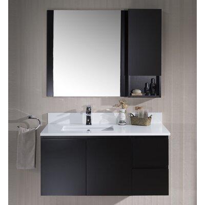 Maly Modern 42 Single Bathroom Vanity Set with Mirror Base Finish: Espresso