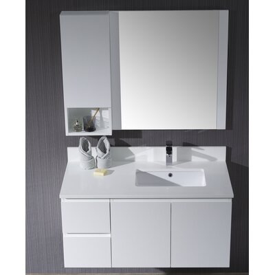 Maly 42 Single Bathroom Vanity Set with Rectangular Mirror Base Finish: Matte White