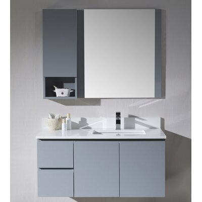 Maly 42 Single Bathroom Vanity Set with Rectangular Mirror Base Finish: Metal Gray