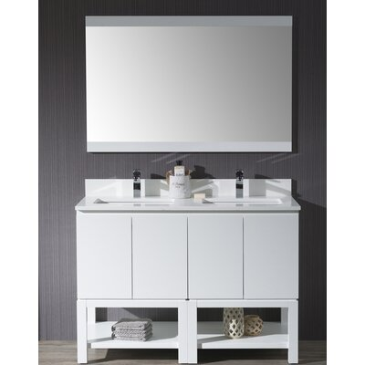 Maly 48 Double Bathroom Vanity Set with Mirror Base Finish: Matte White