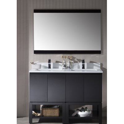 Maly 48 Double Bathroom Vanity Set with Mirror Base Finish: Espresso