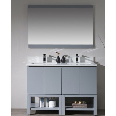 Maly 48 Double Bathroom Vanity Set with Mirror Base Finish: Metal Gray