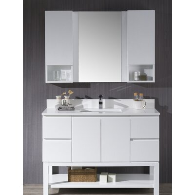 Maly 48 Single Bathroom Vanity Set with Mirror Base Finish: Matte White