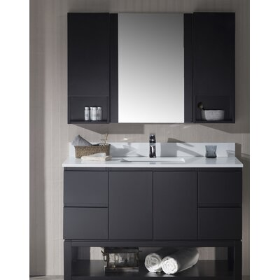 Maly 48 Single Bathroom Vanity Set with Mirror Base Finish: Espresso