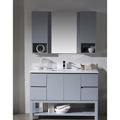 Maly 48 Single Bathroom Vanity Set with Mirror Base Finish: Metal Gray