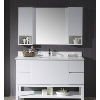 Maly 54 Single Bathroom Vanity Set with Mirror Base Finish: Matte White