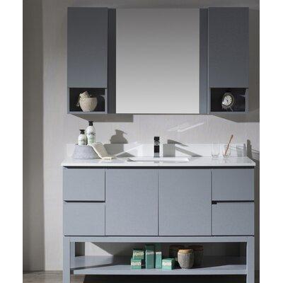 Maly 54 Single Bathroom Vanity Set with Mirror Base Finish: Metal Gray