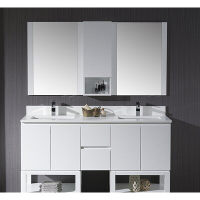 Maly Modern 60 Double Bathroom Vanity Set with Mirror Base Finish: Matte White