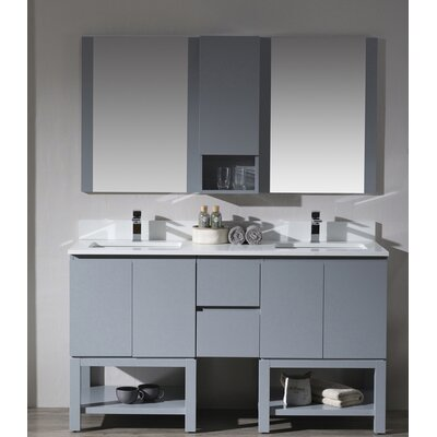 Maly Modern 60 Double Bathroom Vanity Set with Mirror Base Finish: Metal Gray