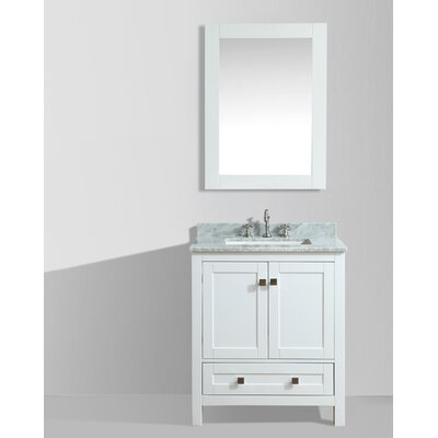 Brier 30 Single Bathroom Vanity Set with Mirror Base Finish: White