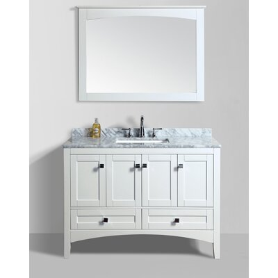 Brier 48 Single Bathroom Vanity Set with Mirror Base Finish: White