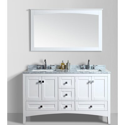 Brier 60 Double Bathroom Vanity Set with Mirror Base Finish: White