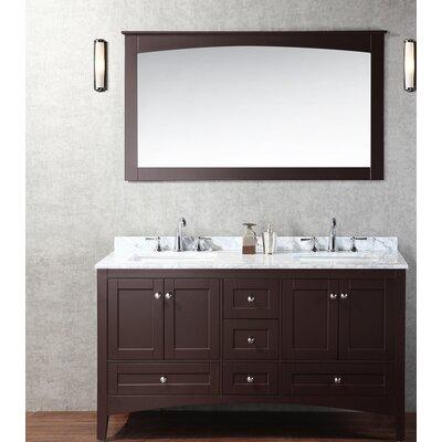 Brier 60 Double Bathroom Vanity Set with Mirror Base Finish: Espresso