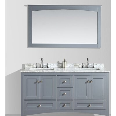 Brier 60 Double Bathroom Vanity Set with Mirror Base Finish: Charcoal Gray