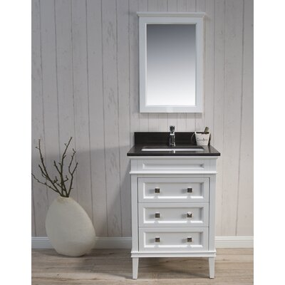 Briese Traditional 25 Single Bathroom Vanity Set with Mirror Base Finish: Matte White