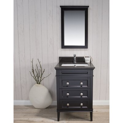 Briese Traditional 25 Single Bathroom Vanity Set with Mirror Base Finish: Espresso